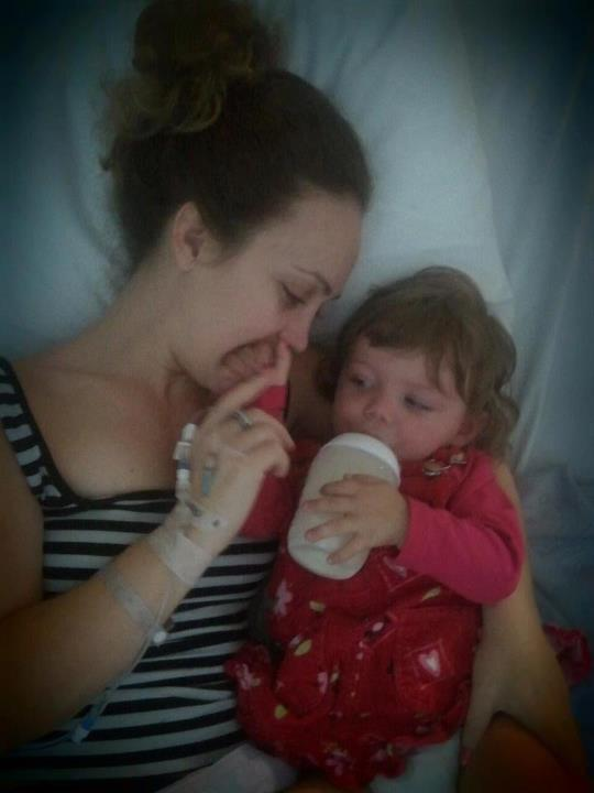 Hospital cuddles with niece Pearl