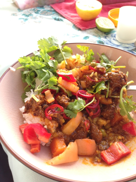 Beef curry we took to a beachside picnic, using this recipe